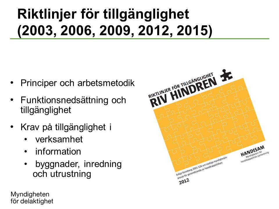 Riktlinjer för tillgänglighet (2003, 2006, 2009, 2012, 2015)