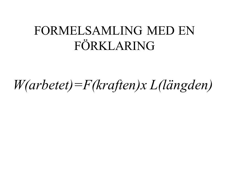 FORMELSAMLING MED EN FÖRKLARING