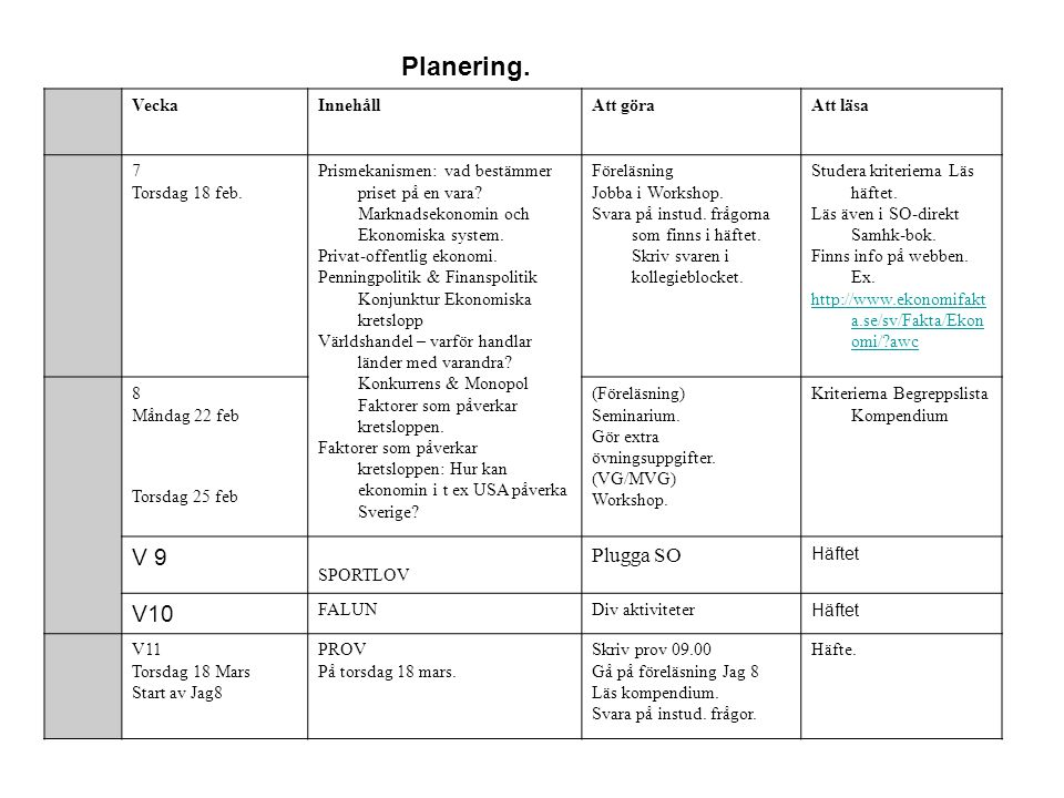Planering. V 9 V10 Plugga SO Vecka Innehåll Att göra Att läsa 7