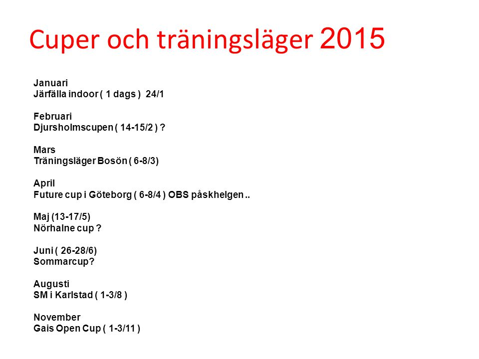 Cuper och träningsläger 2015