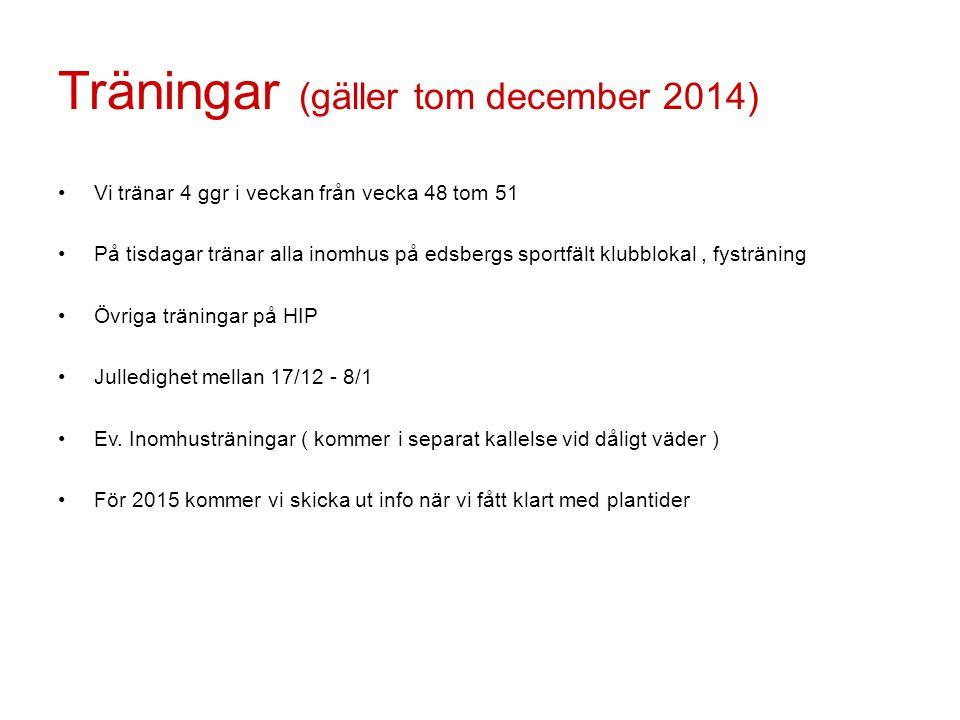 Träningar (gäller tom december 2014)