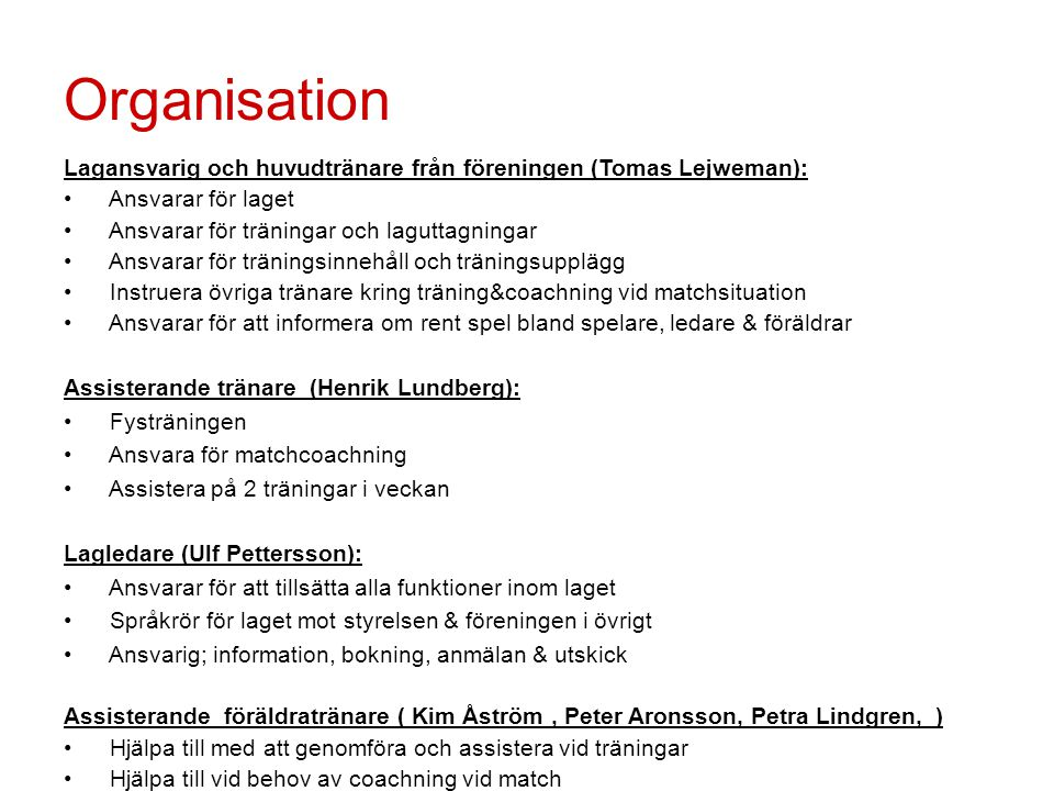 Organisation Lagansvarig och huvudtränare från föreningen (Tomas Lejweman): Ansvarar för laget. Ansvarar för träningar och laguttagningar.