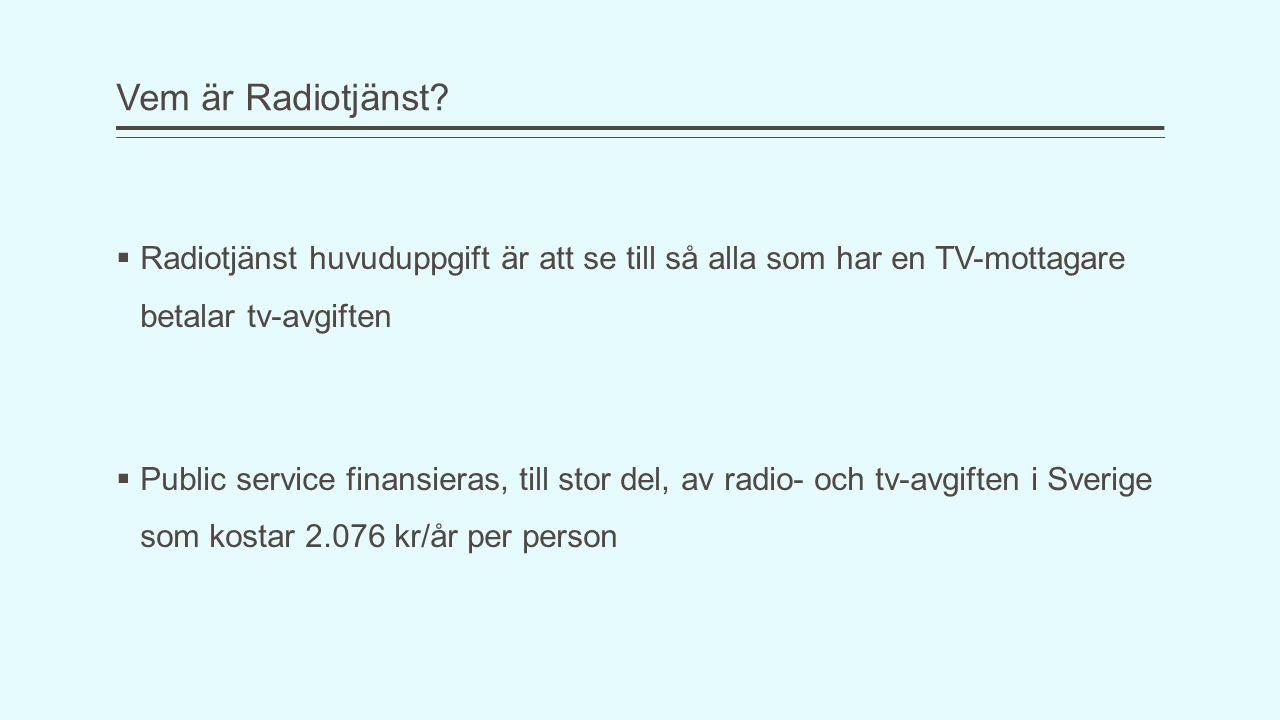 Vem är Radiotjänst Radiotjänst huvuduppgift är att se till så alla som har en TV-mottagare betalar tv-avgiften.