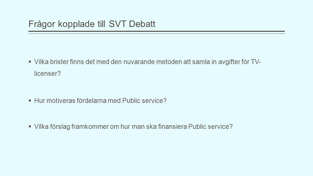 Frågor kopplade till SVT Debatt