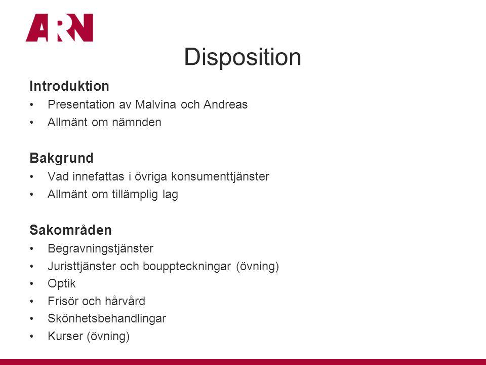 Disposition Introduktion Bakgrund Sakområden