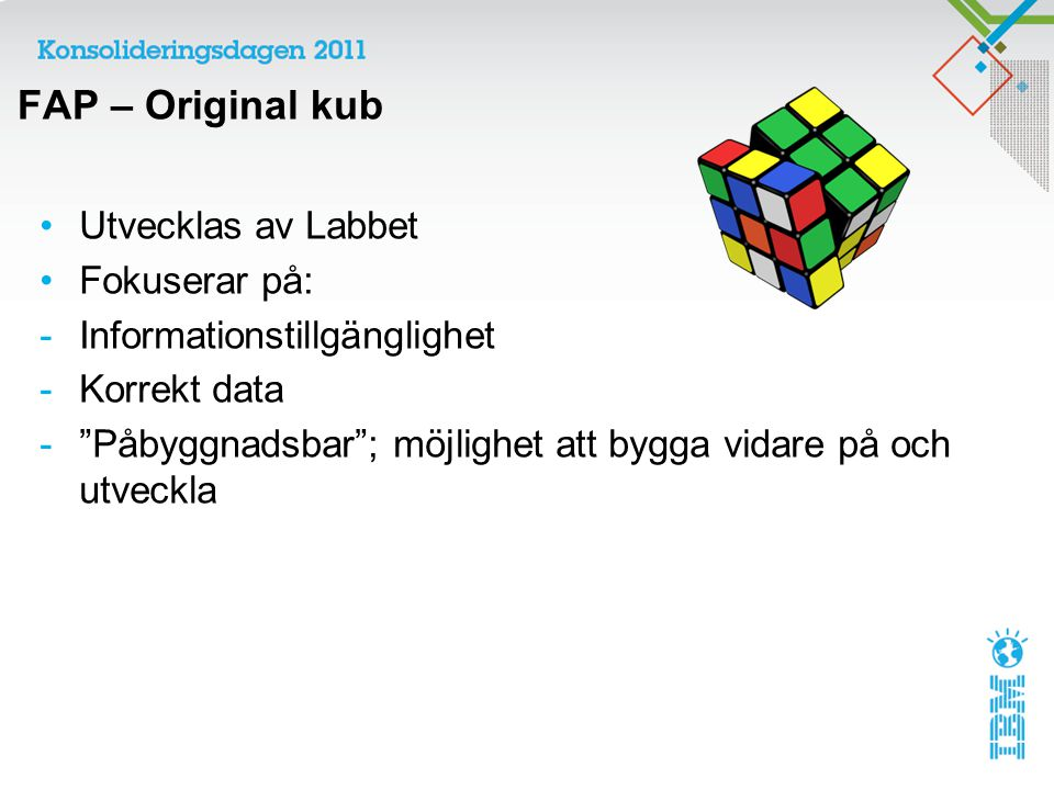 FAP – Original kub Utvecklas av Labbet Fokuserar på: