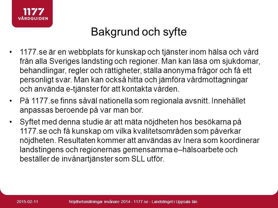 Nöjdhetsmätningar invånare 2014 - 1177.se - Landstinget i Uppsala län