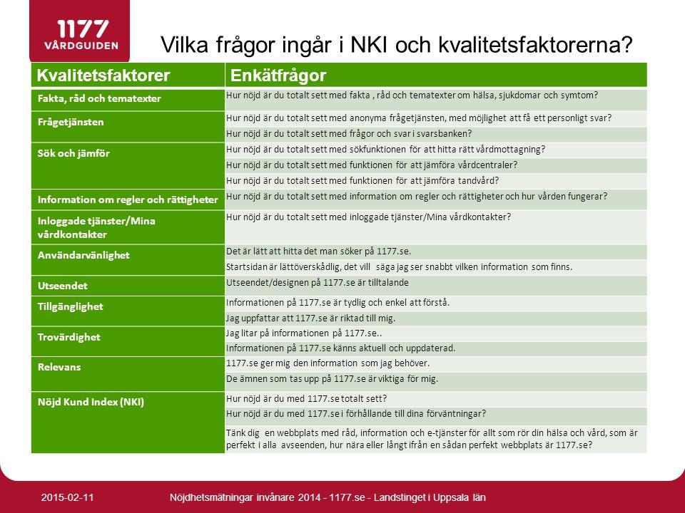 Vilka frågor ingår i NKI och kvalitetsfaktorerna