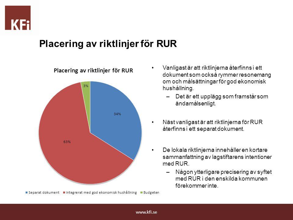 Placering av riktlinjer för RUR