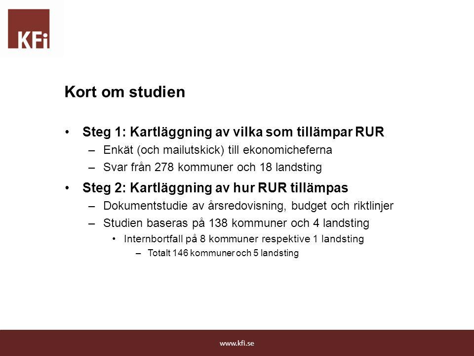 Kort om studien Steg 1: Kartläggning av vilka som tillämpar RUR