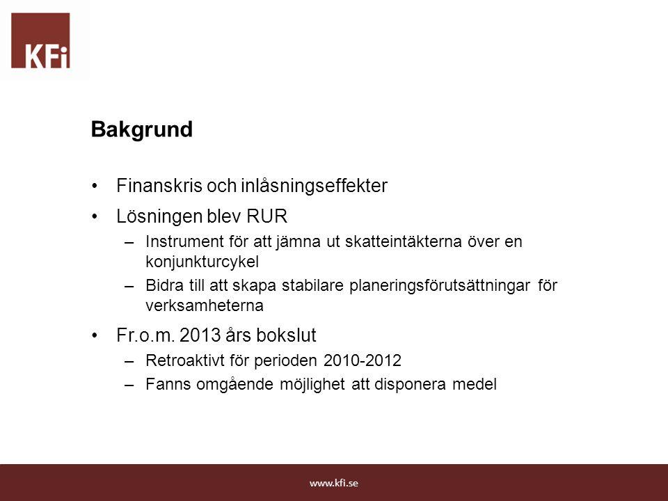 Bakgrund Finanskris och inlåsningseffekter Lösningen blev RUR
