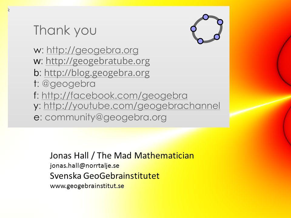 Jonas Hall / The Mad Mathematician jonas. hall@norrtalje