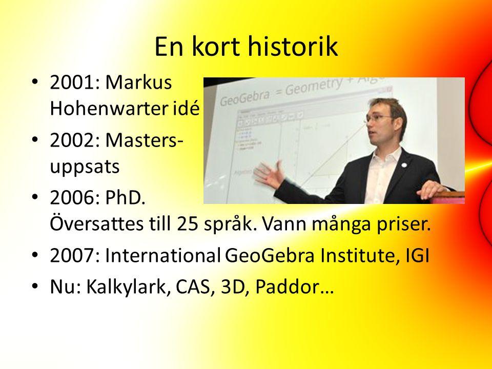 En kort historik 2001: Markus Hohenwarter idé 2002: Masters- uppsats