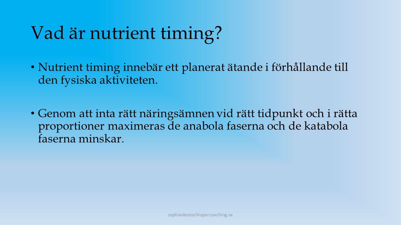 Vad är nutrient timing Nutrient timing innebär ett planerat ätande i förhållande till den fysiska aktiviteten.