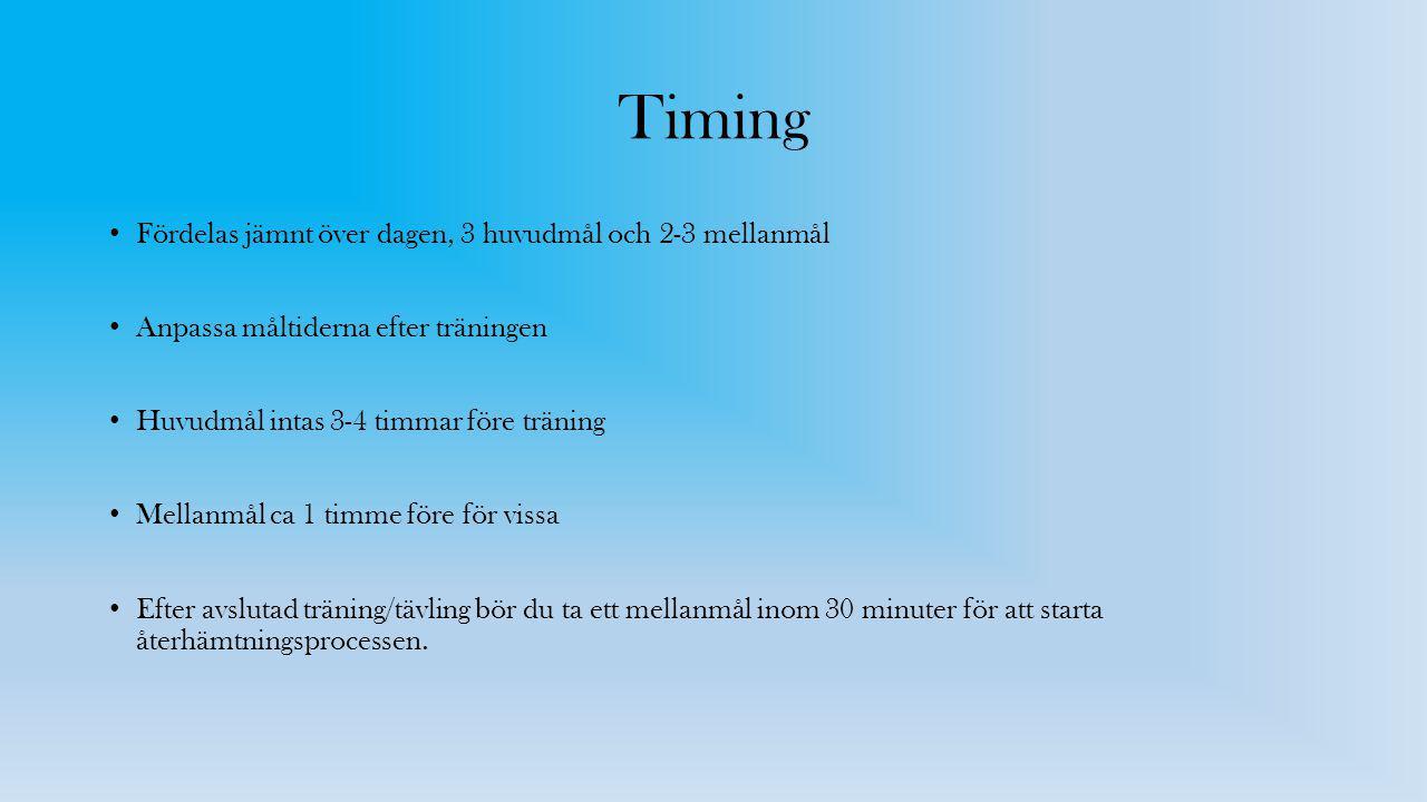 Timing Fördelas jämnt över dagen, 3 huvudmål och 2-3 mellanmål