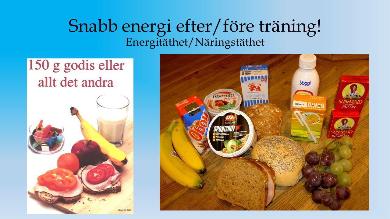 Snabb energi efter/före träning! Energitäthet/Näringstäthet