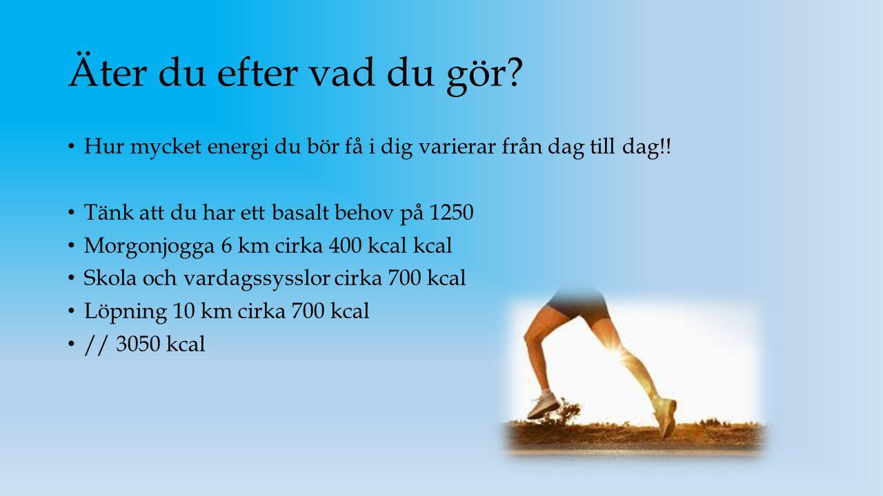 Äter du efter vad du gör Hur mycket energi du bör få i dig varierar från dag till dag!! Tänk att du har ett basalt behov på 1250.