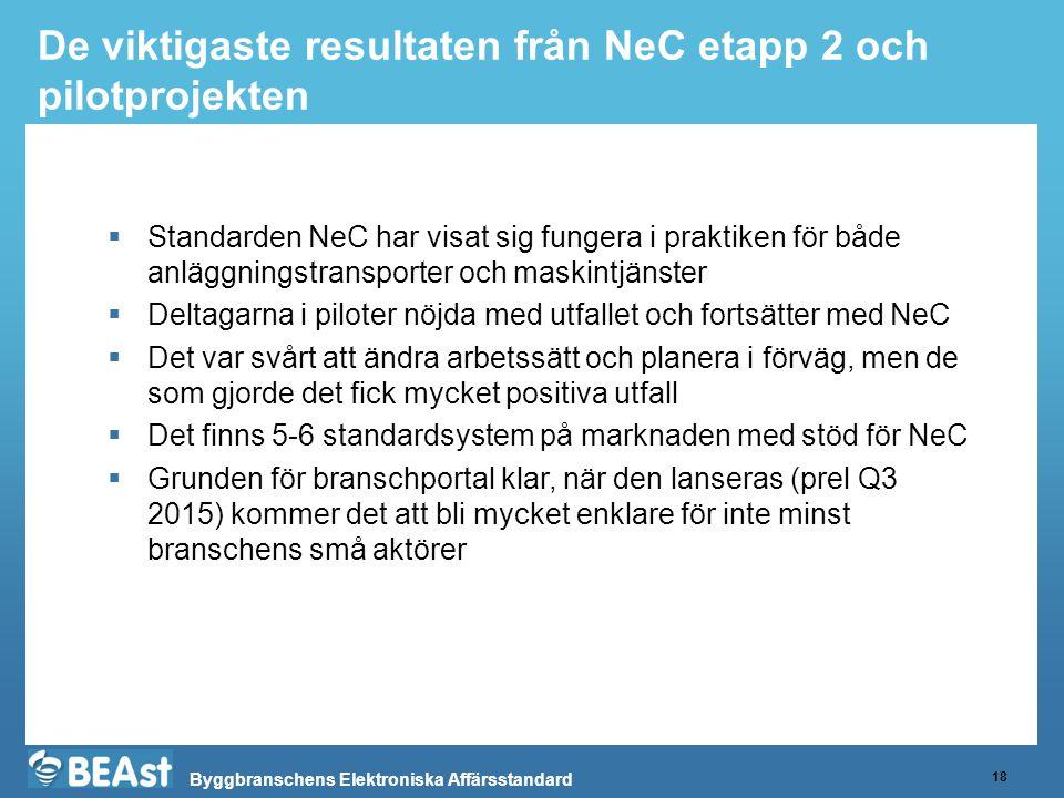 De viktigaste resultaten från NeC etapp 2 och pilotprojekten