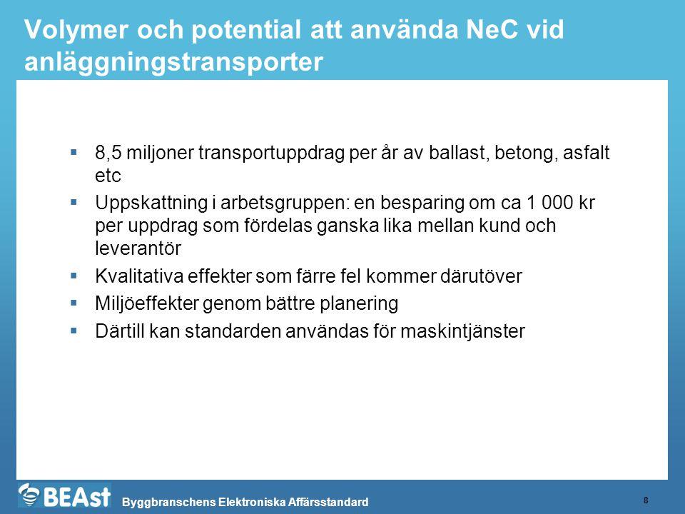 Volymer och potential att använda NeC vid anläggningstransporter
