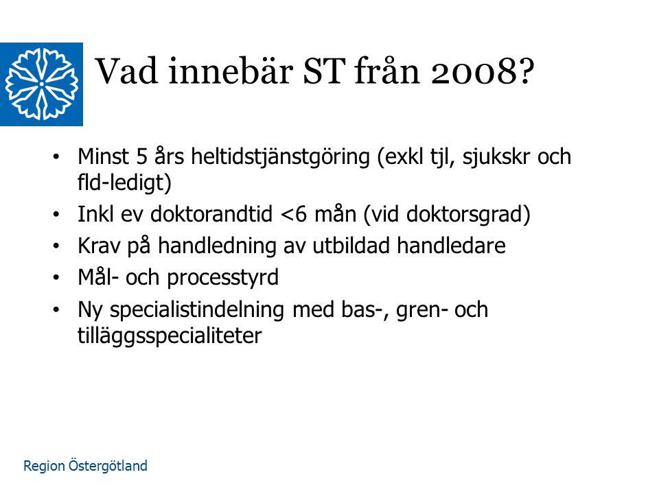 Vad innebär ST från 2008 Minst 5 års heltidstjänstgöring (exkl tjl, sjukskr och fld-ledigt) Inkl ev doktorandtid <6 mån (vid doktorsgrad)