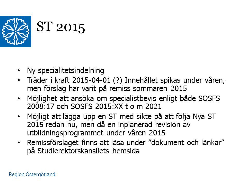 ST 2015 Ny specialitetsindelning