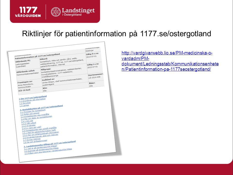 Riktlinjer för patientinformation på 1177.se/ostergotland