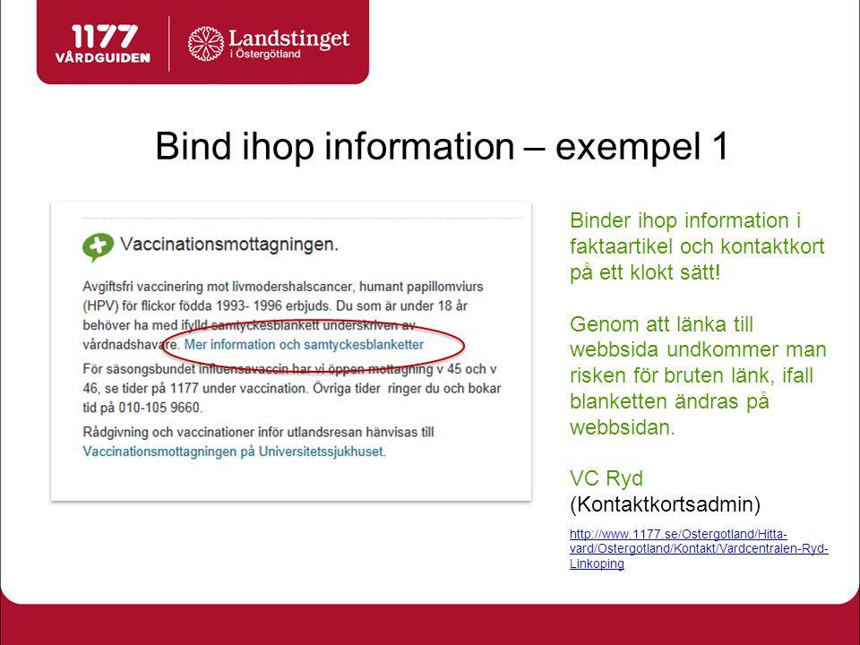 Bind ihop information – exempel 1