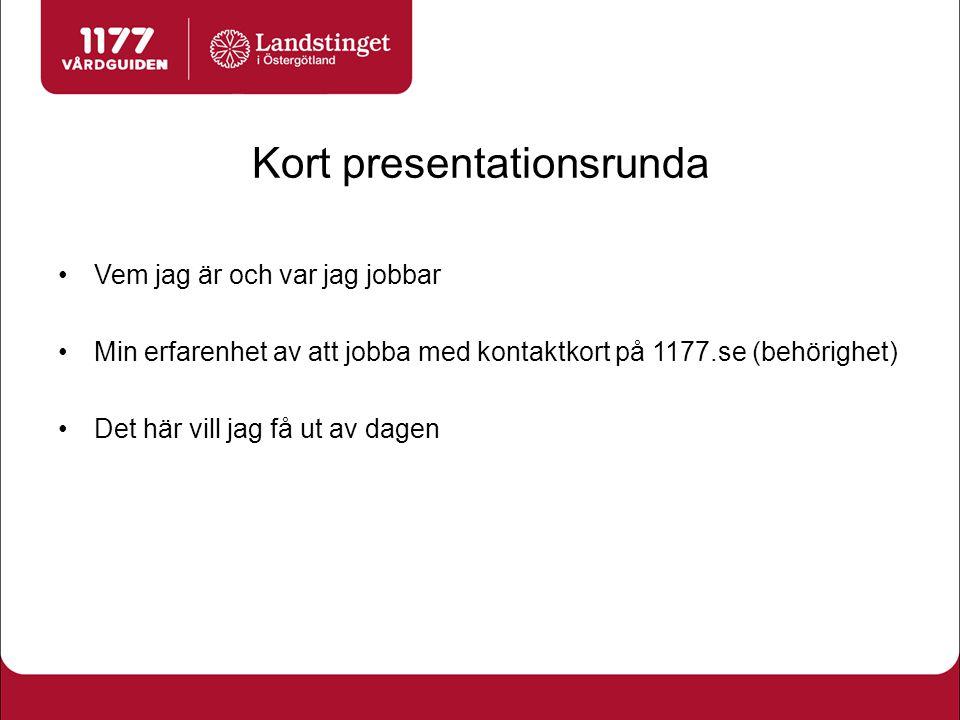 Kort presentationsrunda
