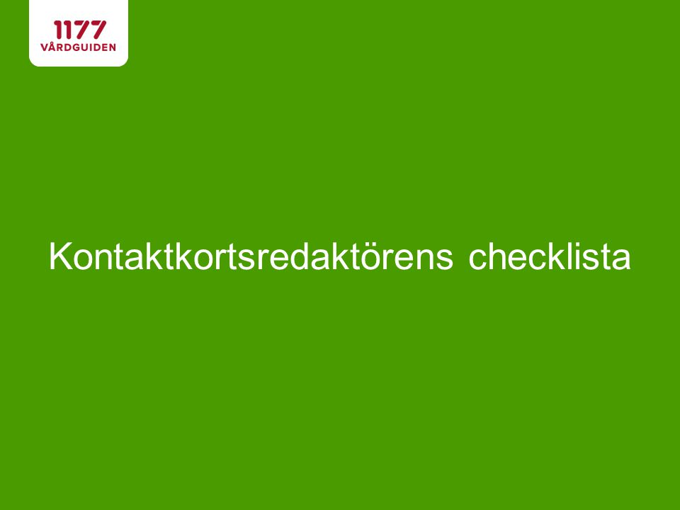 Kontaktkortsredaktörens checklista