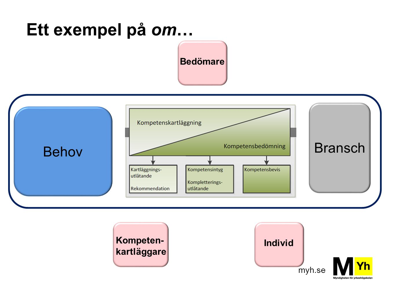Ett exempel på om… Bransch Behov Bedömare Kompeten- kartläggare