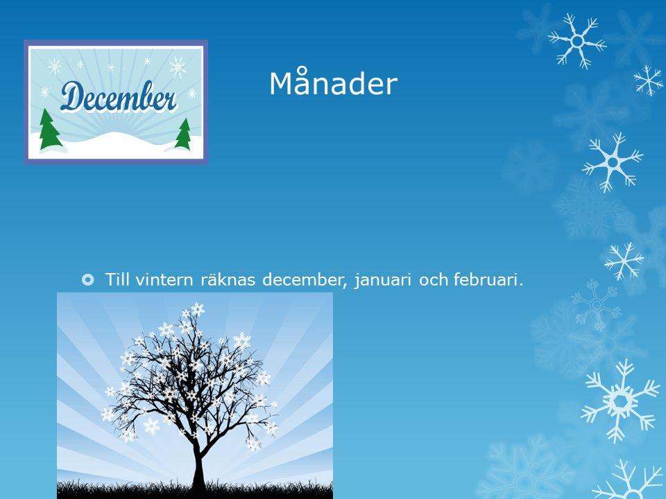 Månader Till vintern räknas december, januari och februari.