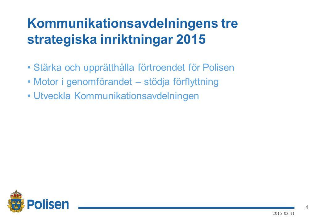 Kommunikationsavdelningens tre strategiska inriktningar 2015