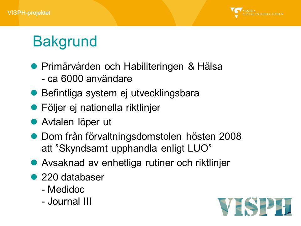 Bakgrund Primärvården och Habiliteringen & Hälsa - ca 6000 användare