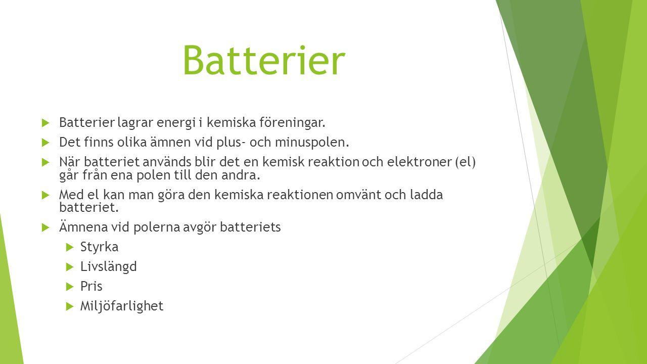 Batterier Batterier lagrar energi i kemiska föreningar.