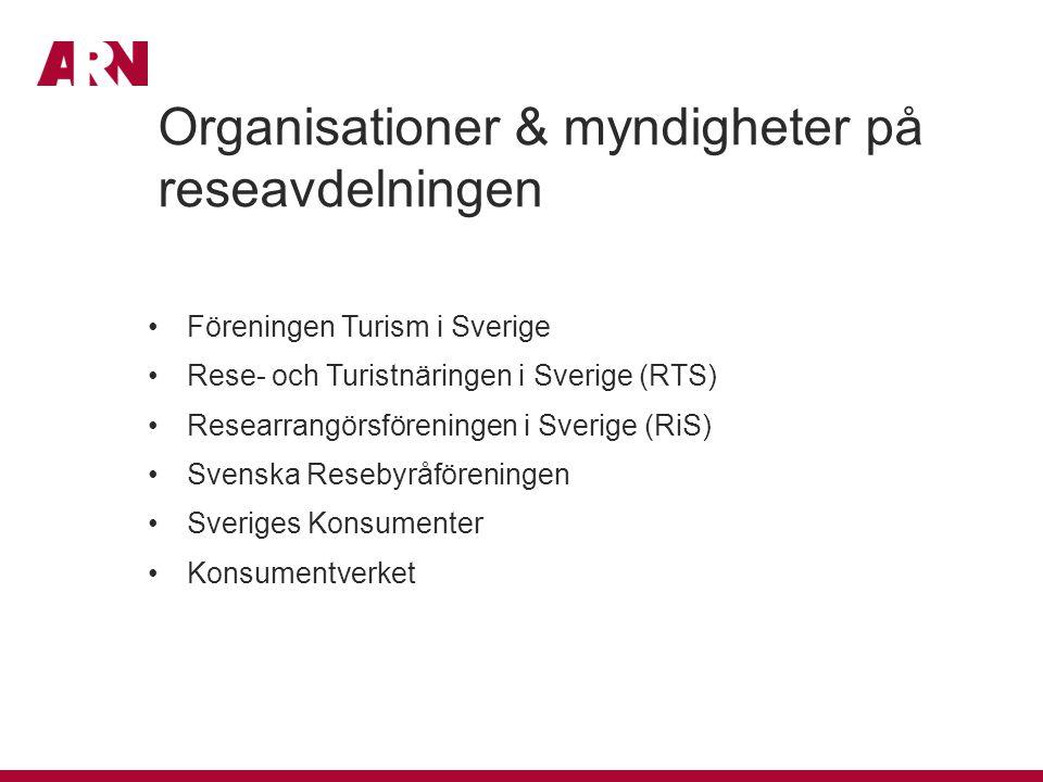 Organisationer & myndigheter på reseavdelningen