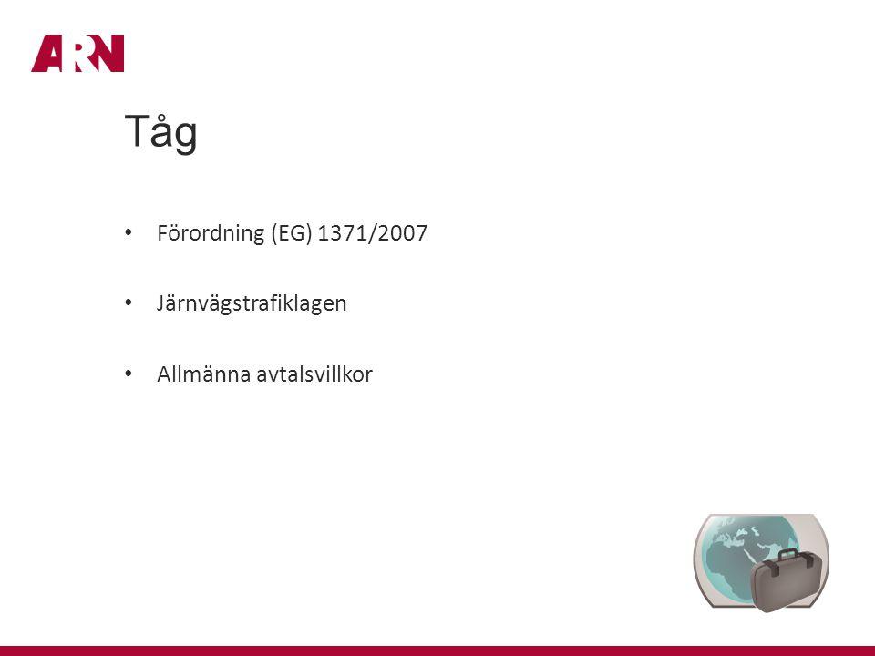 Tåg Förordning (EG) 1371/2007 Järnvägstrafiklagen