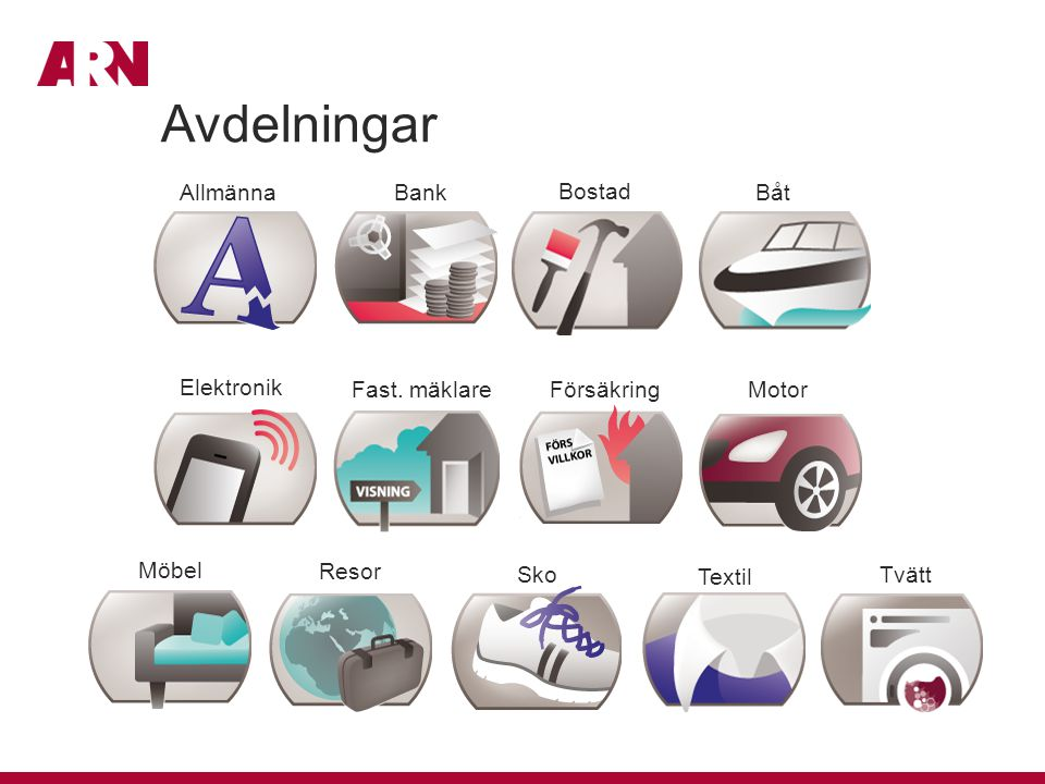 Avdelningar Allmänna Bank Bostad Båt Elektronik Fast. mäklare