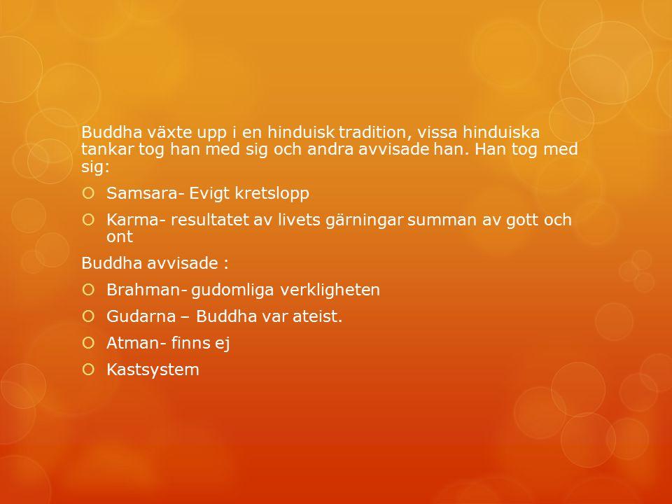 Buddha växte upp i en hinduisk tradition, vissa hinduiska tankar tog han med sig och andra avvisade han. Han tog med sig: