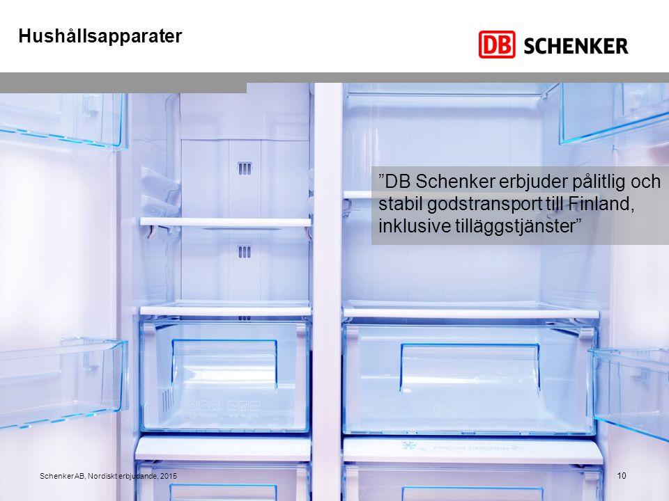 Hushållsapparater DB Schenker erbjuder pålitlig och stabil godstransport till Finland, inklusive tilläggstjänster