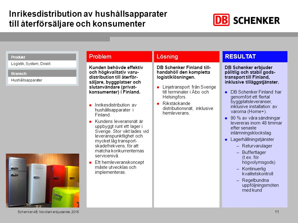 Inrikesdistribution av hushållsapparater till återförsäljare och konsumenter