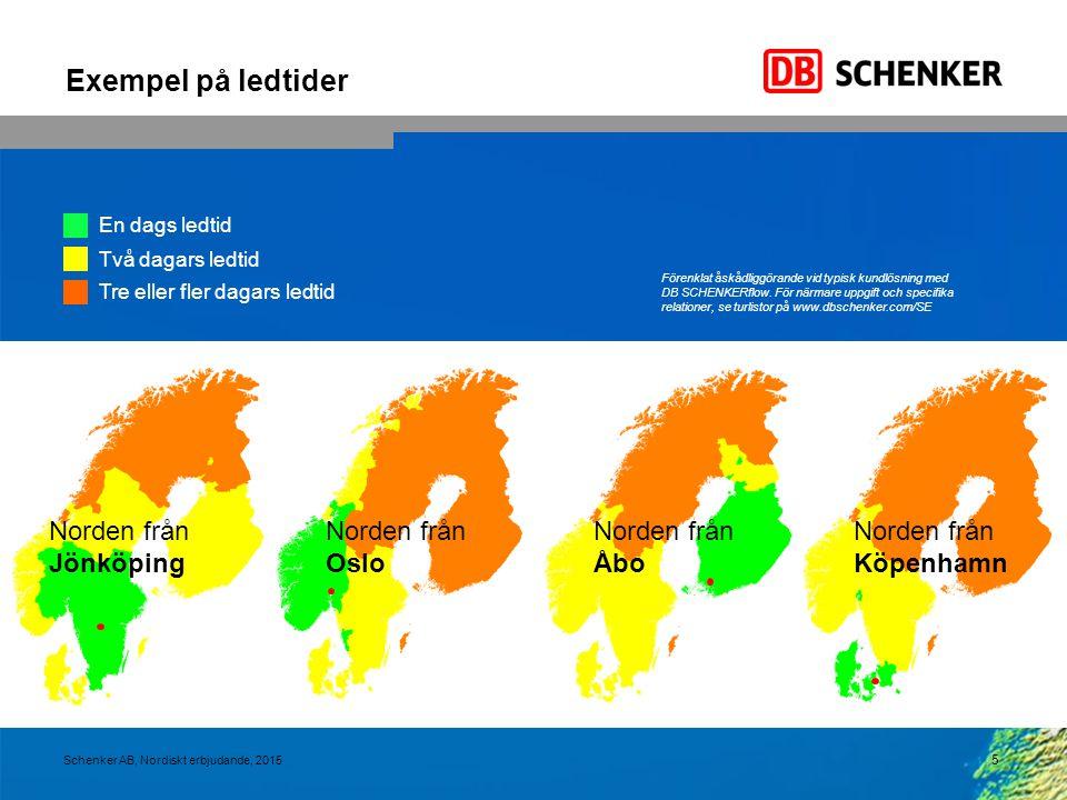 Exempel på ledtider Norden från Jönköping Norden från Oslo