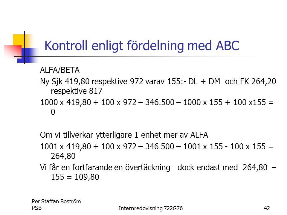 Kontroll enligt fördelning med ABC