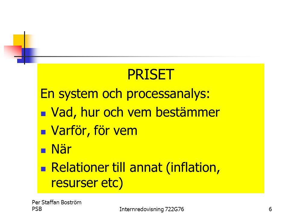 PRISET En system och processanalys: Vad, hur och vem bestämmer