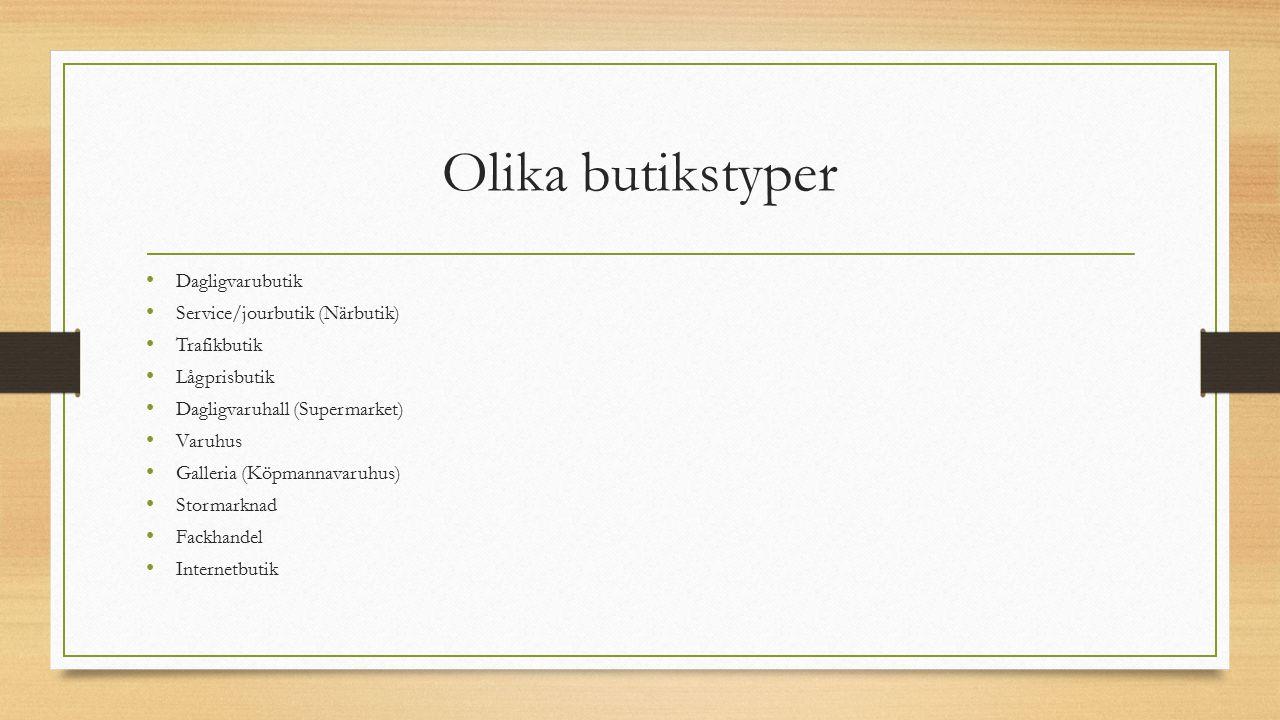 Olika butikstyper Dagligvarubutik Service/jourbutik (Närbutik)