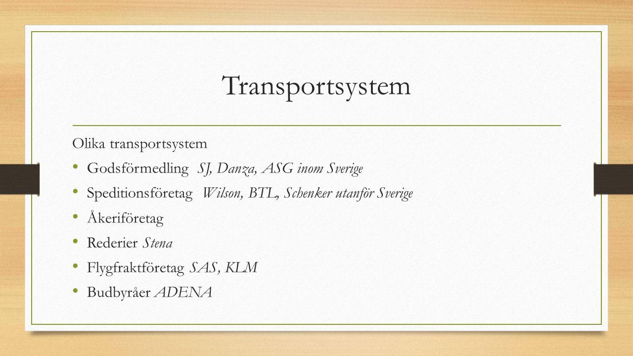 Transportsystem Olika transportsystem