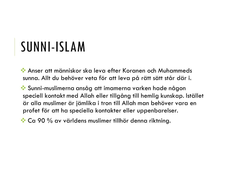 Sunni-islam Anser att människor ska leva efter Koranen och Muhammeds sunna. Allt du behöver veta för att leva på rätt sätt står där i.