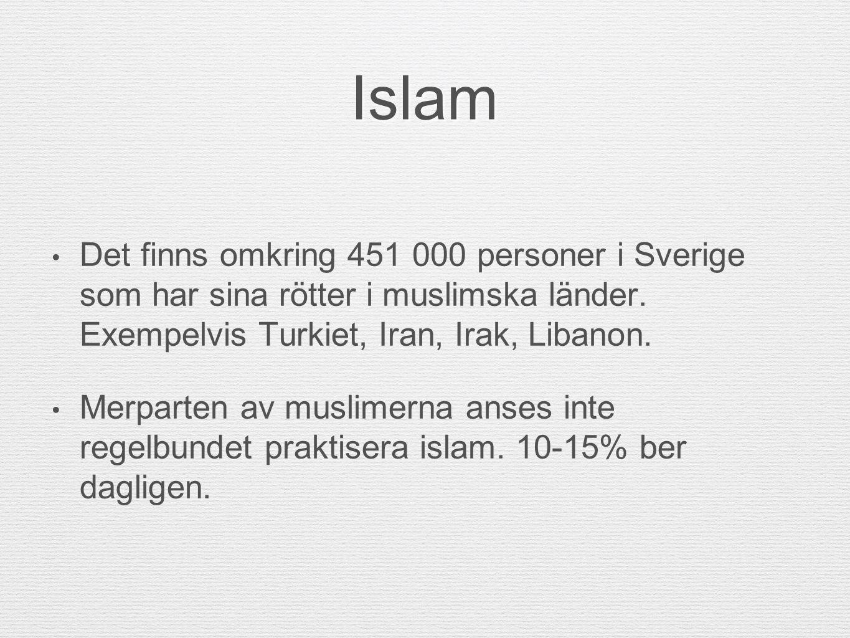 Islam Det finns omkring 451 000 personer i Sverige som har sina rötter i muslimska länder. Exempelvis Turkiet, Iran, Irak, Libanon.