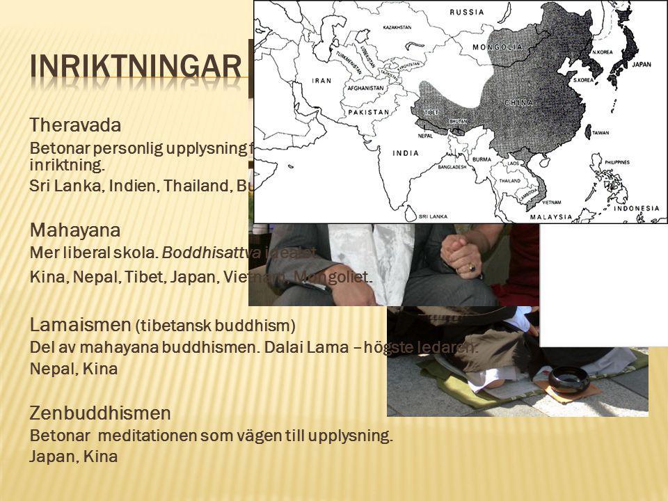 Inriktningar Theravada Mahayana Lamaismen (tibetansk buddhism)