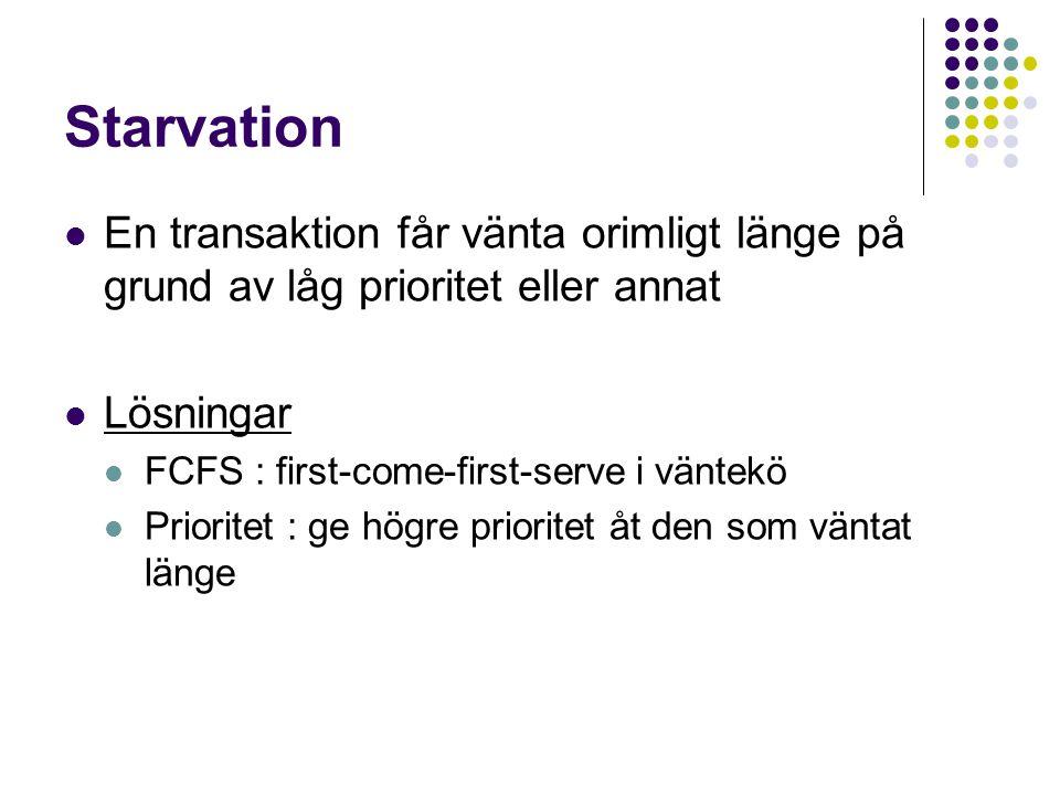 Starvation En transaktion får vänta orimligt länge på grund av låg prioritet eller annat. Lösningar.