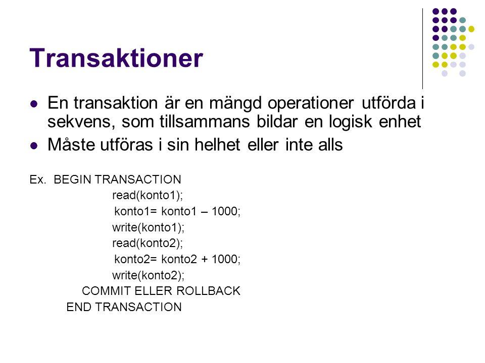 Transaktioner En transaktion är en mängd operationer utförda i sekvens, som tillsammans bildar en logisk enhet.